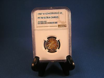 1987-W Constitution Modern Gold Commemorative $5 Proof PF 70 Ultra Cameo NGC