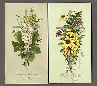 EASTER - 2 PRANG Victorian Greeting Cards 1882 Sun Flowers and Christian Crosses