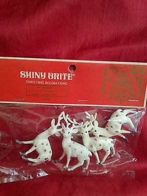 Vintage Shiny Brite Package of 4 Deer White w/Gold Spots New Old Stock
