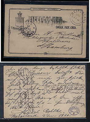 Heligoland  postal card to Germany  1890     MS0902
