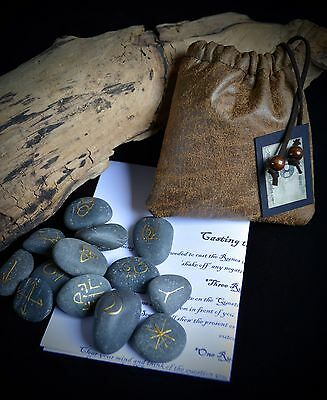 13 Witches River Stone Runes & Bag Witch Wicca pagan Gift