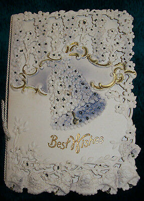 Victorian Die Cut Embossed Bell Best Wishes Greeting Card Gold Trim Sparkles
