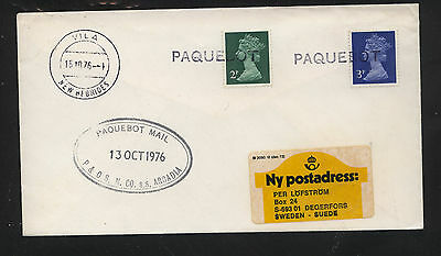 New Hebrides  paquebot cancel Great Britain stamps SS Arcadia        KL1105