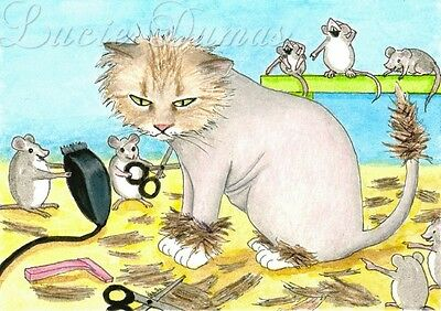 ACEO art print Cat 402 mouse from funny original painting L.Dumas