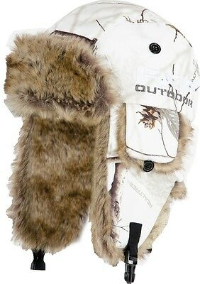 FXR Aviator Fur Lined Hat  AP Snow RealTree White Woods Camo