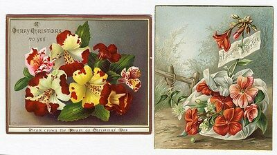 2 Beautiful Floral CHRISTMAS NEW YEAR Victorian Greeting Cards COLORFUL 1880's