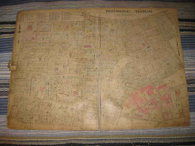 Huge Antique 1918 Providence Rhode Island Map Beer Brewery Car Company Rubber Nr