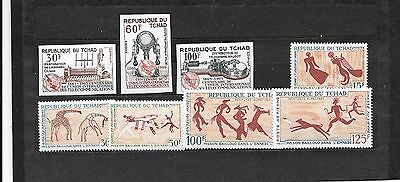 AFRICA(CHAD)- Normal & unlisted imperfs (2 sets)-All MNH Rock paintings & ITU