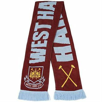 Official West Ham United Football Club FC Hammers Soccer Woolly Scarf