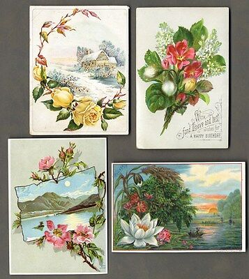 FLORAL VICTORIAN Greeting 1880s WATER LILY Roses 1 LICORICE Trade Card SNOW