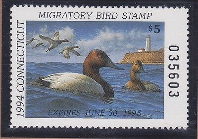 CONNECTICUT 1994 MNH $5.00 Canvasback State Duck Waterfowl Stamp