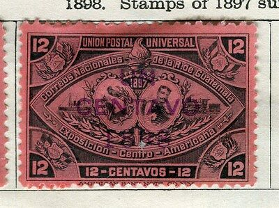 GUATEMALA;  1898 surcharged early classic issue Mint hinged 12c. value