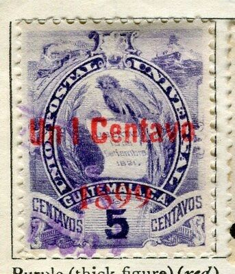 GUATEMALA;  1899-1901 classic surcharged(R) issue fine used 5c. value