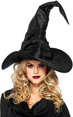 Large Ruched Wicked Witch Sorceress Hat Halloween Costume Accessory Women Black