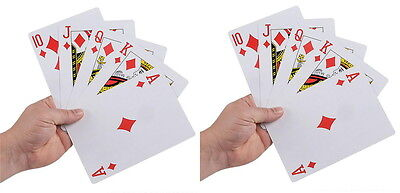 """2 DECKS GIANT SUPER JUMBO 5"""" X 7"""" PLAYING CARDS 5x7 INCH INCHES LARGE HUGE BIG"""