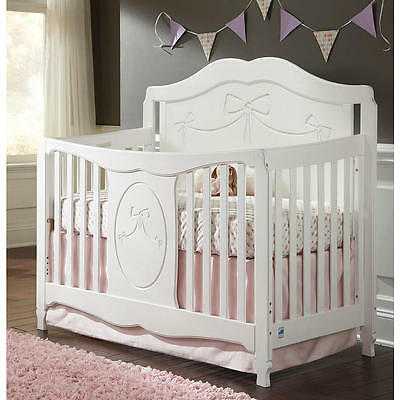 Stork Craft Princess 4-in-1 Fixed Side Convertible Crib - White