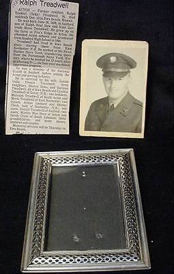 US Navy Framed Photograph Young Man & Death Notice Obituary Pearl Harbour Yard