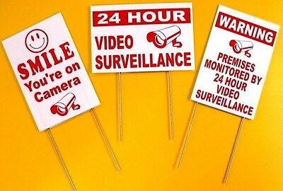 3- 24 HOUR VIDEO SURVEILLANCE SMILE YOU'RE ON CAMERA SECURITY SIGNS STAKES 8x12r