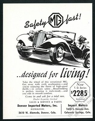 1952 MG M.G. Midget TD illustrated vintage print ad