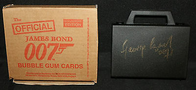James Bond 007 Bubble Gum Card Reissue Set 1997 Signed in GOLD by George Lazenby