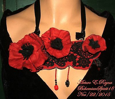 Arturo E.reyna Awesome Red Poppy Flowers Leather Signed Bib/necklace Set