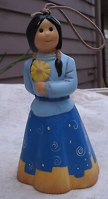 Enesco Indian Girl with Flower Bell Ornament,Jim Shore Owell,porcelain -hanging