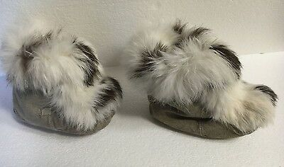 VTG COLLECTIBLE CHILD toddler Kids *RABBIT FUR* MUKLUK BOOTS shoes SUEDE GRAY