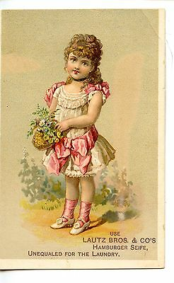 Beautiful Girl-Lautz Bros Laundry Soap-Vintage Victorian Advertising Trade Card