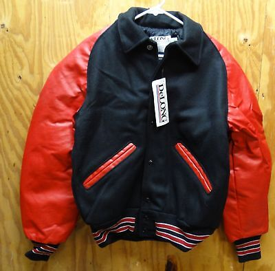 Delong Varsity / Letterman's Jacket Red / Black & White Made In Usa Small
