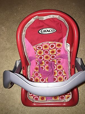 "Graco Doll Car Seat Carrier Red,Gray,Pink Toy Pink-Orange Designed Cover 12""Long"