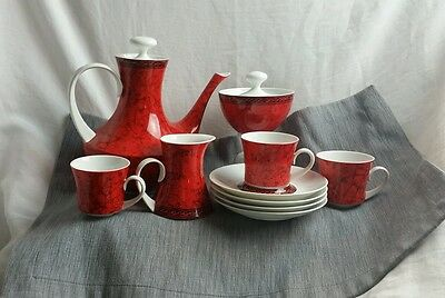 BLOCK CHINA FLAMENCO Pattern  Spain Coffee pot Demitasse cups 12 Pieces Set