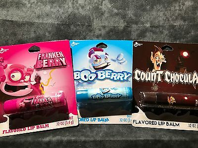 General Mills  Boo Berry Count Chocula Frankenberry Lip Balm  NEW Free Shipping