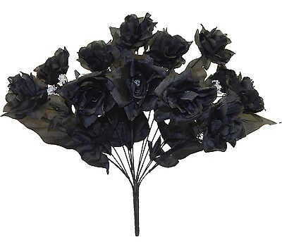 12 OPEN LONG STEM ROSES BLACK Silk Wedding Flowers Bouquets Centerpieces Gothic