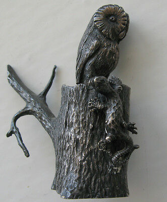 English Sterling Silver Miniature Owl and Salamander On Stump Figure