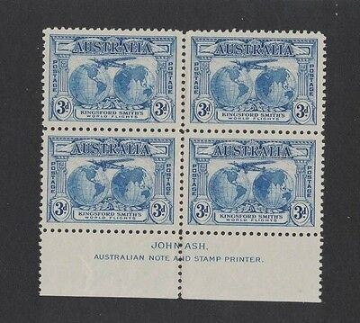 1931 Australia Kingsford Smith SG 122 imprint block 4 muh fold in middle
