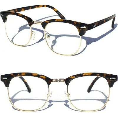 Half Frame Browline Classic Retro Style Clear Lens Glasses Retro Vintage Style