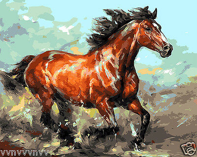 """16X20/"""" Paint By Number DIY Acrylic kit Oil Painting On Canvas Running Horse 2219"""