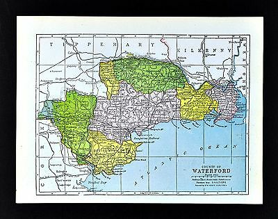 1900 Ireland Map - Waterford County - Tallow Ringville Dungarvan Tramore Dunmore