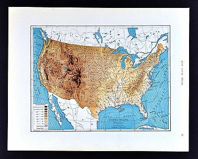 1908 Rand McNally Map Physical  United States Altitudes Elevation Ocean Currents