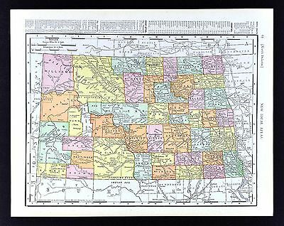 1908 Rand McNally Map - North Dakota - Bismarck Fargo Dickinson Mandan Jamestown