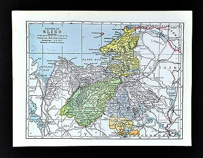1900 Ireland Map - Sligo County Easky Cliffony Callooney Tobercurry Curry Aclare