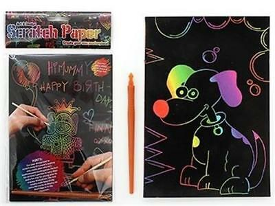 """""""SCRATCH ART PAPER, 5 x A5 Sheets + Tool"""" Create Your Own Colourful Works Of Art"""
