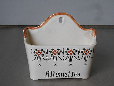 Antique French Ceramic Allumettes  matches Box canister ART DECO Floral pattern