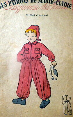 RARE VTG 1940s CHILDS SNOWSUIT FRENCH Sewing Pattern 1-2 YEARS