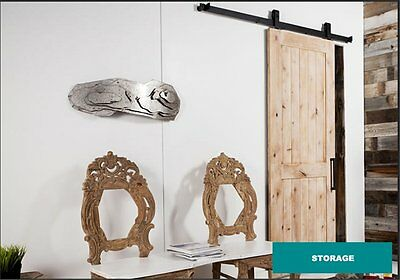 6.6 FT Black Modern Antique Style Sliding Barn Wood Door Hardware Closet Set