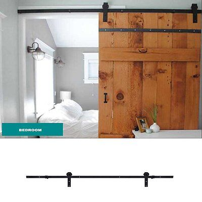 6.6 FT Black European Rustic Sliding Barn Door Closet Hardware Sliding Track KIT