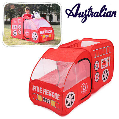 Kids Pop up Indoor & Outdoor Fire Truck Car Shaped Ball Pit Play Tent Hut Toy AU