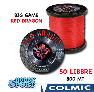 FILO NYLON TRAINA BIG GAME 50 LB RED DRAGON COLMIC mt 800