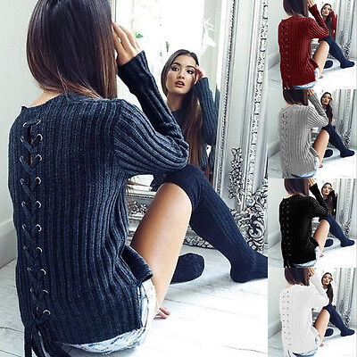 Womens Knitted Lace Up Back Jumper Sweater Ladies Casual Sweater Knitwear Tops