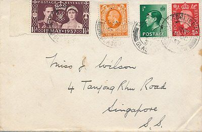 Cover To Singapore From Glasgow 4 Stamps 1937